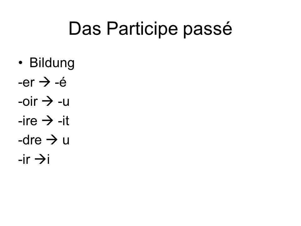 Das Participe passé Bildung -er  -é -oir  -u -ire  -it -dre  u -ir  i