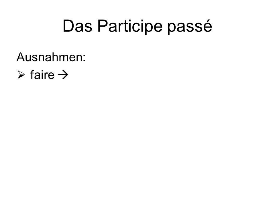 Das Participe passé Ausnahmen:  faire 