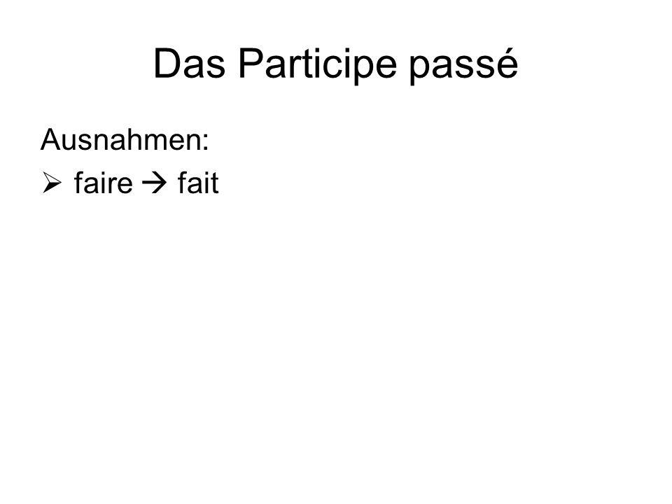 Das Participe passé Ausnahmen:  faire  fait