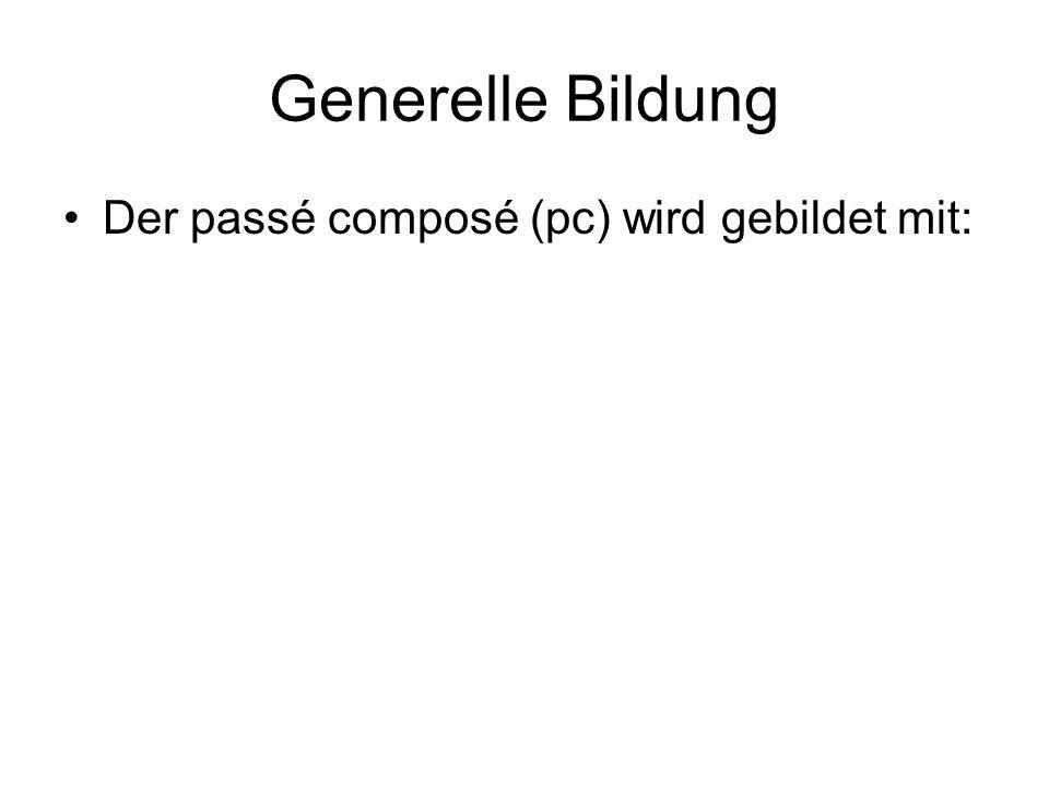 Der passé composé (pc) wird gebildet mit: