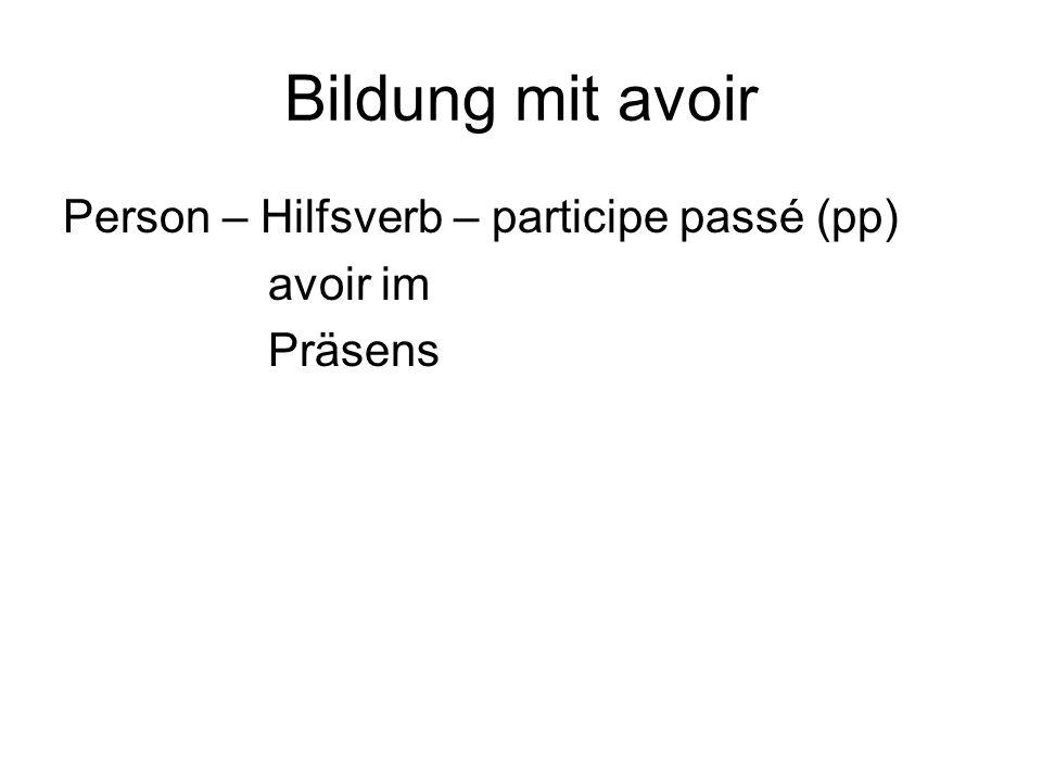 Bildung mit avoir Person – Hilfsverb – participe passé (pp) avoir im Präsens