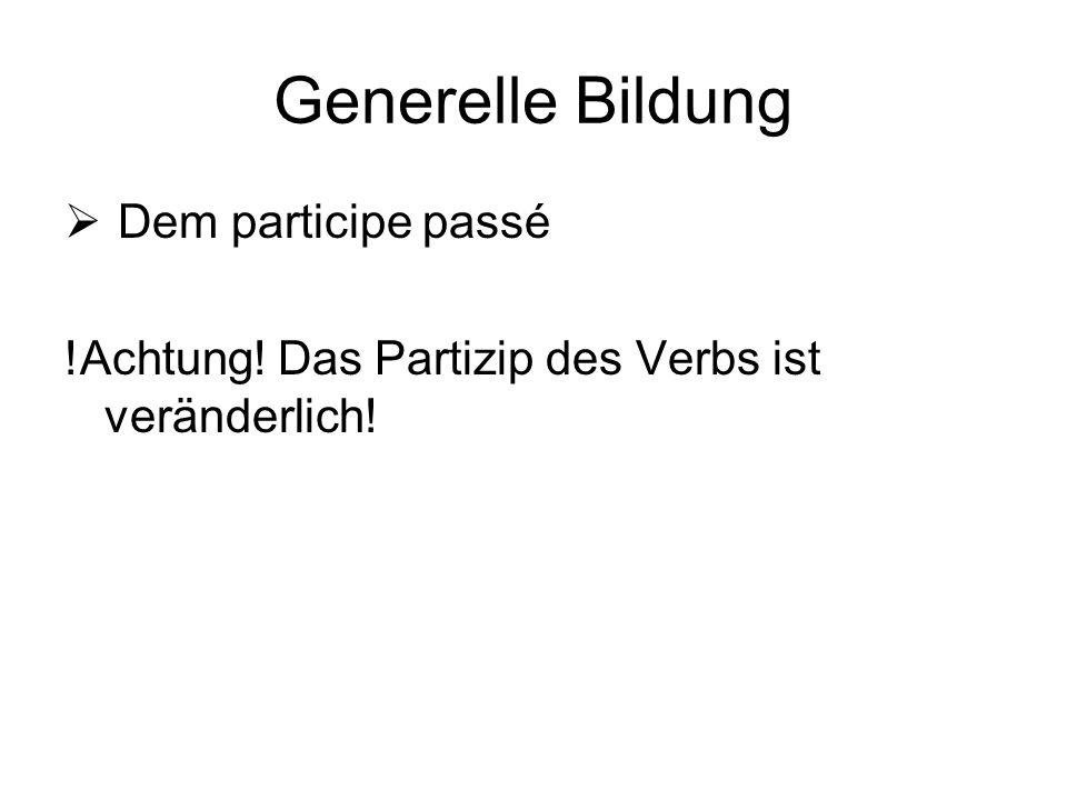 Das Participe passé Bildung -er  -é -oir  -u -ire  -it -dre  u