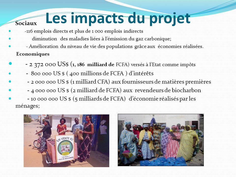 Les impacts du projet Sociaux -116 emplois directs et plus de 1 000 emplois indirects diminution des maladies liées à l'émission du gaz carbonique; - Amélioration du niveau de vie des populations grâce aux économies réalisées.
