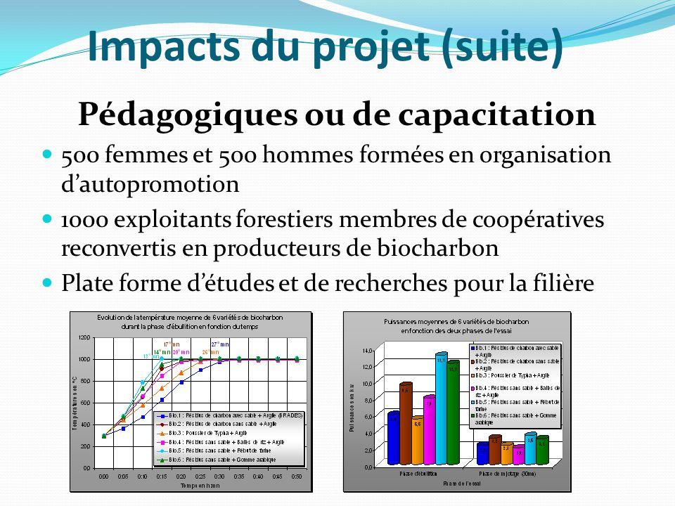 Impacts du projet (suite) Pédagogiques ou de capacitation 500 femmes et 500 hommes formées en organisation d'autopromotion 1000 exploitants forestiers membres de coopératives reconvertis en producteurs de biocharbon Plate forme d'études et de recherches pour la filière