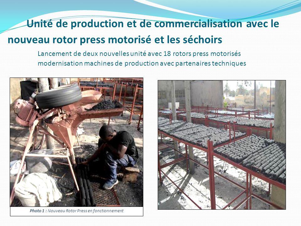 Unité de production et de commercialisation avec le nouveau rotor press motorisé et les séchoirs Lancement de deux nouvelles unité avec 18 rotors press motorisés modernisation machines de production avec partenaires techniques Photo 1 : Nouveau Rotor Press en fonctionnement