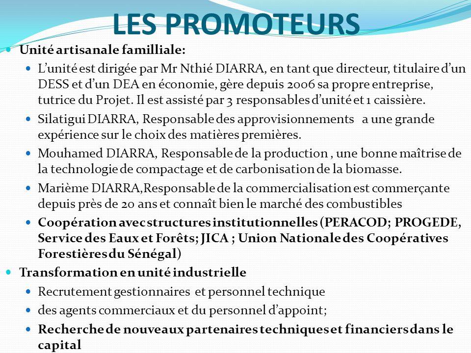 LES PROMOTEURS Unité artisanale familliale: L'unité est dirigée par Mr Nthié DIARRA, en tant que directeur, titulaire d'un DESS et d'un DEA en économie, gère depuis 2006 sa propre entreprise, tutrice du Projet.