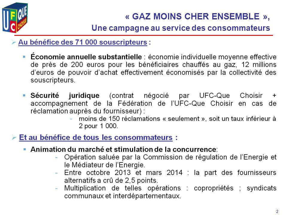 2 « GAZ MOINS CHER ENSEMBLE », Une campagne au service des consommateurs