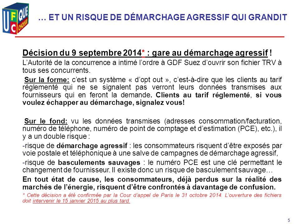 5 … ET UN RISQUE DE DÉMARCHAGE AGRESSIF QUI GRANDIT Décision du 9 septembre 2014* : gare au démarchage agressif .