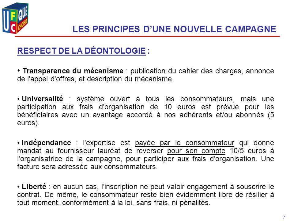 7 LES PRINCIPES D'UNE NOUVELLE CAMPAGNE RESPECT DE LA DÉONTOLOGIE : Transparence du mécanisme : publication du cahier des charges, annonce de l'appel d'offres, et description du mécanisme.