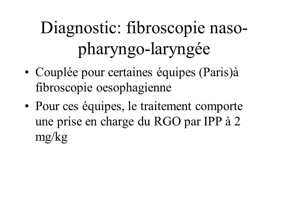 Diagnostic: fibroscopie naso- pharyngo-laryngée Couplée pour certaines équipes (Paris)à fibroscopie oesophagienne Pour ces équipes, le traitement comp