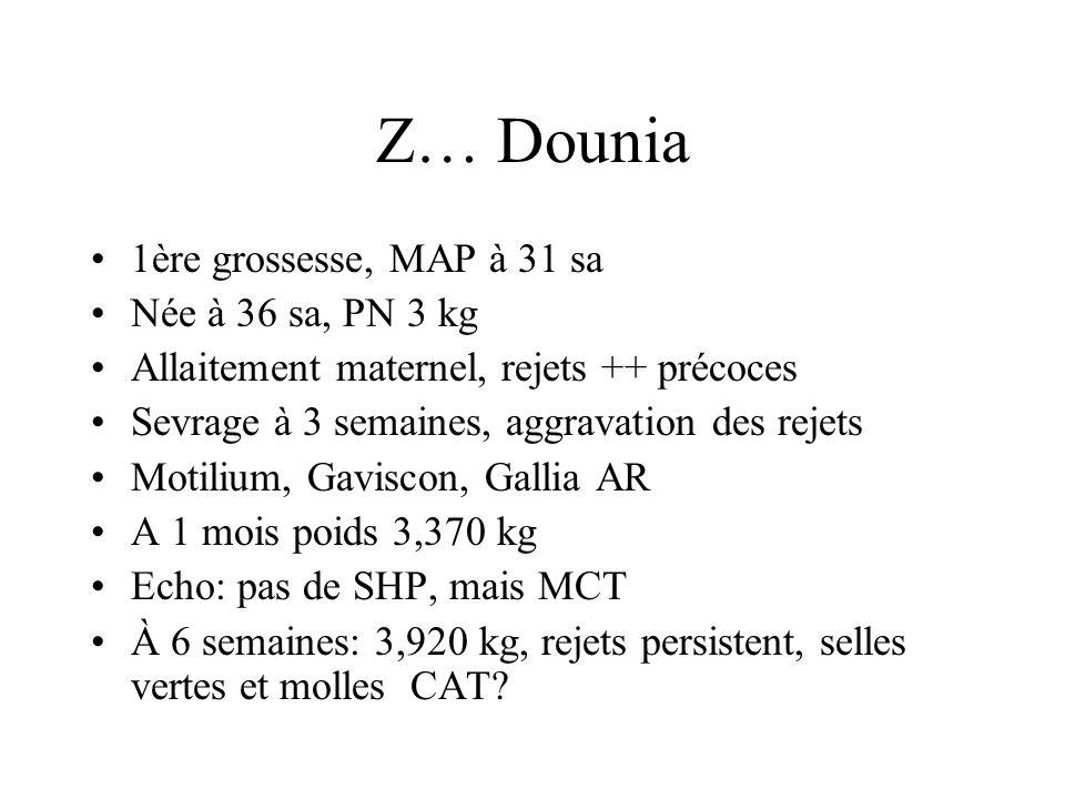 Z… Dounia 1ère grossesse, MAP à 31 sa Née à 36 sa, PN 3 kg Allaitement maternel, rejets ++ précoces Sevrage à 3 semaines, aggravation des rejets Motil