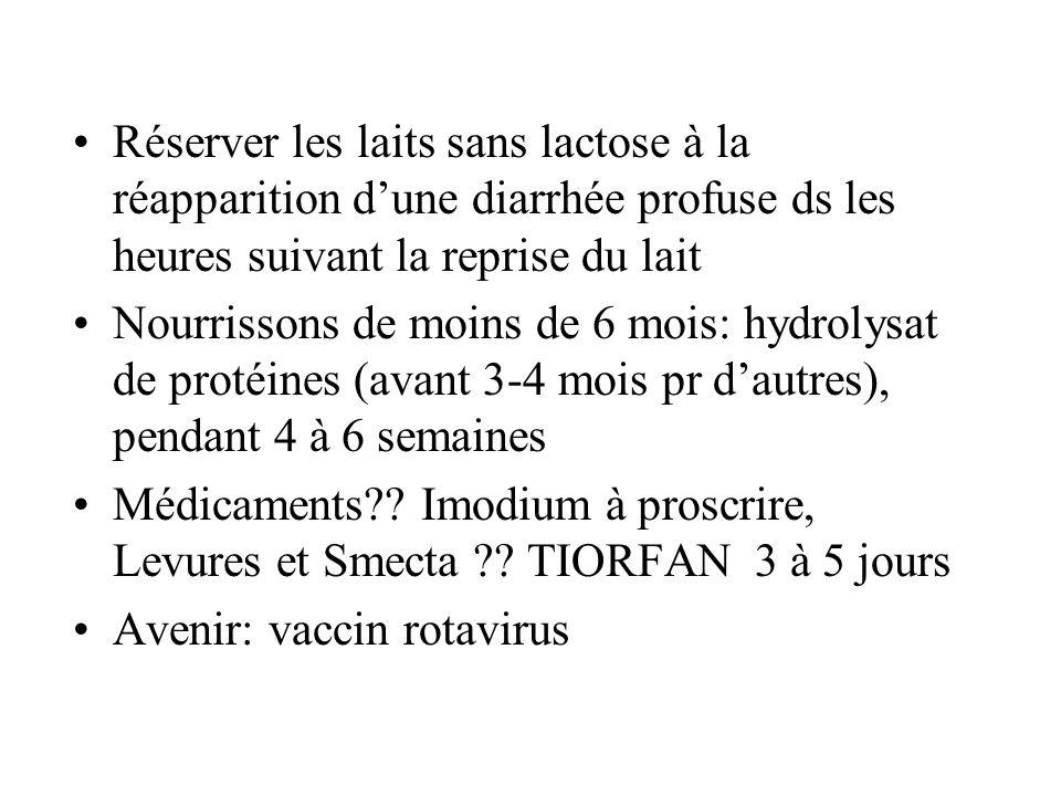Réserver les laits sans lactose à la réapparition d'une diarrhée profuse ds les heures suivant la reprise du lait Nourrissons de moins de 6 mois: hydr