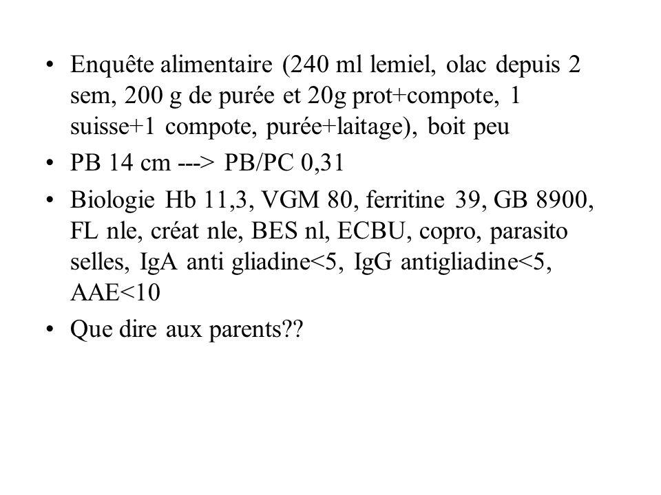 Enquête alimentaire (240 ml lemiel, olac depuis 2 sem, 200 g de purée et 20g prot+compote, 1 suisse+1 compote, purée+laitage), boit peu PB 14 cm --->