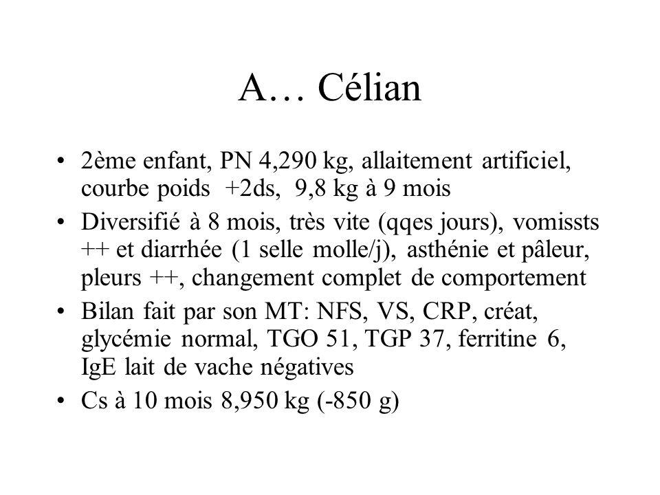 A… Célian 2ème enfant, PN 4,290 kg, allaitement artificiel, courbe poids +2ds, 9,8 kg à 9 mois Diversifié à 8 mois, très vite (qqes jours), vomissts +
