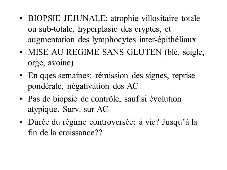 BIOPSIE JEJUNALE: atrophie villositaire totale ou sub-totale, hyperplasie des cryptes, et augmentation des lymphocytes inter-épithéliaux MISE AU REGIM