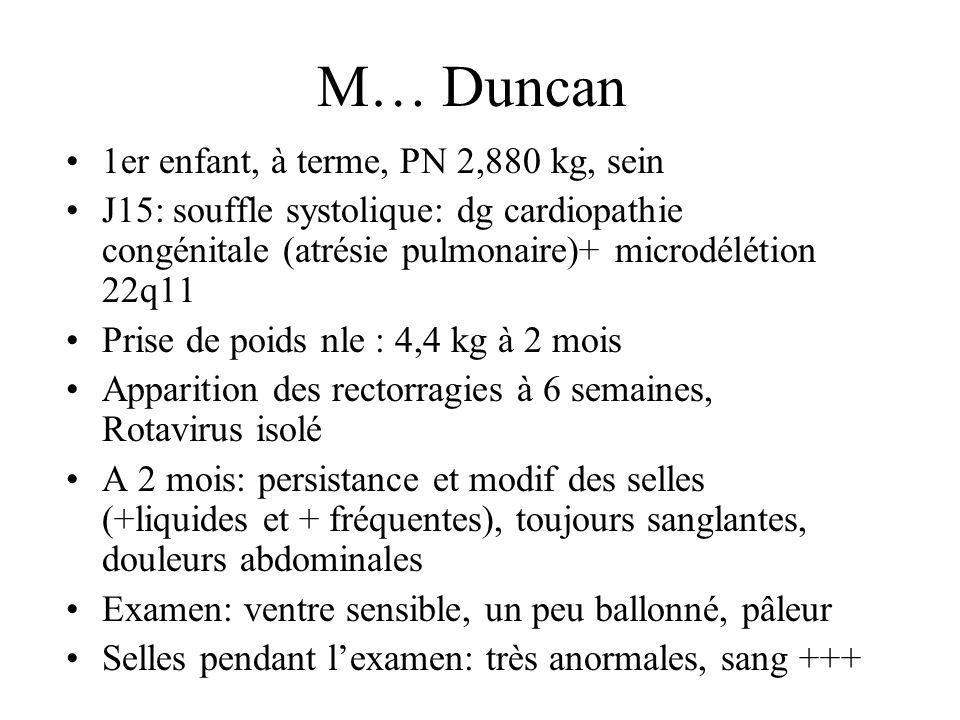 M… Duncan 1er enfant, à terme, PN 2,880 kg, sein J15: souffle systolique: dg cardiopathie congénitale (atrésie pulmonaire)+ microdélétion 22q11 Prise
