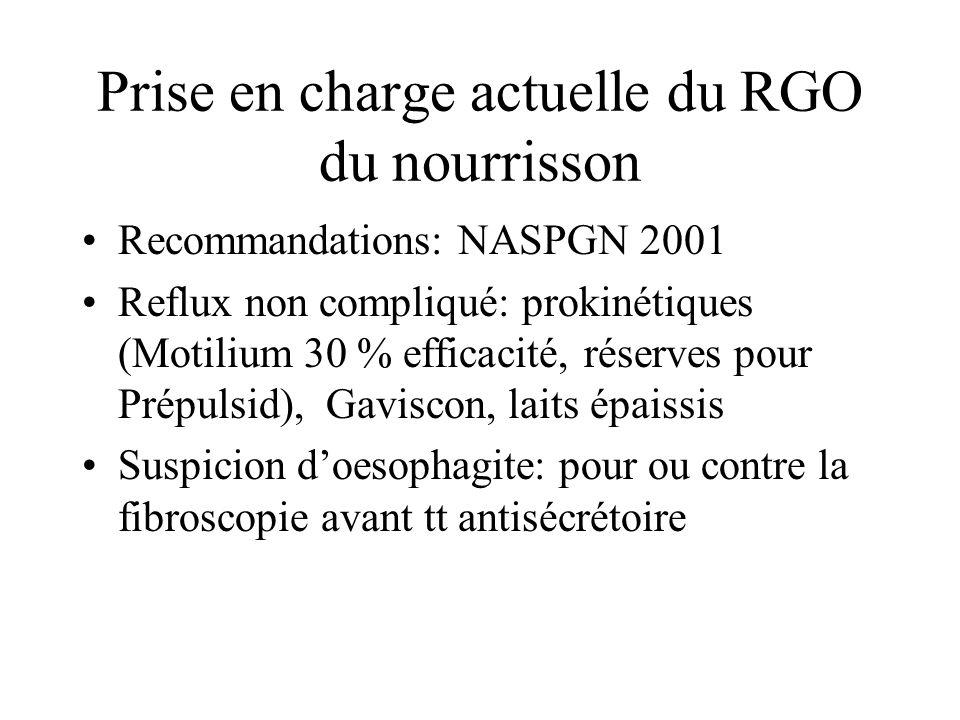 Prise en charge actuelle du RGO du nourrisson Recommandations: NASPGN 2001 Reflux non compliqué: prokinétiques (Motilium 30 % efficacité, réserves pou