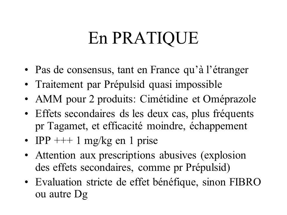 En PRATIQUE Pas de consensus, tant en France qu'à l'étranger Traitement par Prépulsid quasi impossible AMM pour 2 produits: Cimétidine et Oméprazole E