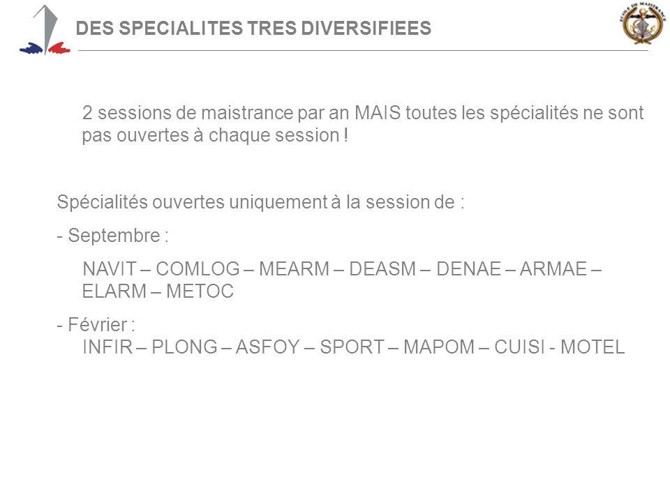 DES SPECIALITES TRES DIVERSIFIEES 2 sessions de maistrance par an MAIS toutes les spécialités ne sont pas ouvertes à chaque session .