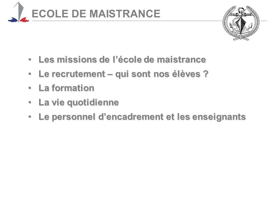 ECOLE DE MAISTRANCE Les missions de l'école de maistranceLes missions de l'école de maistrance