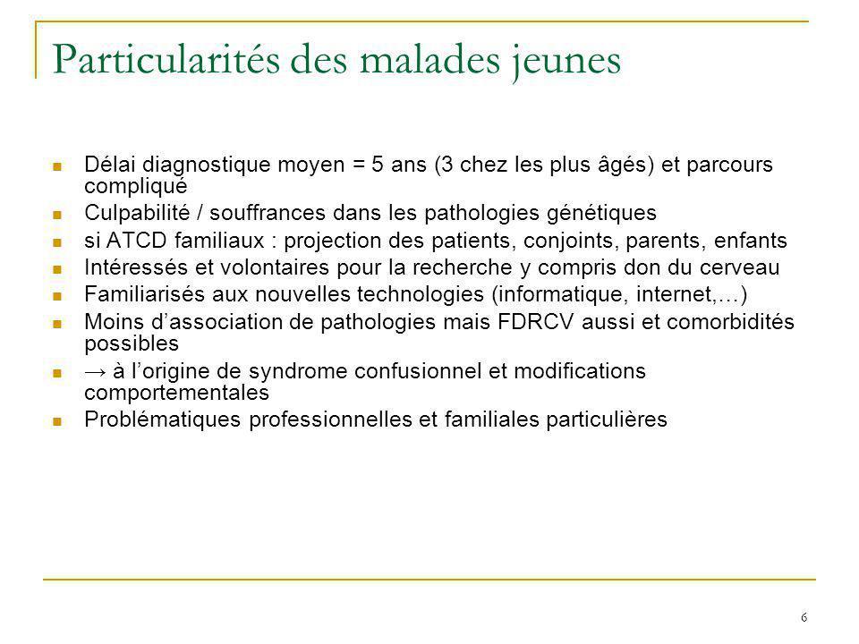 6 Particularités des malades jeunes Délai diagnostique moyen = 5 ans (3 chez les plus âgés) et parcours compliqué Culpabilité / souffrances dans les p