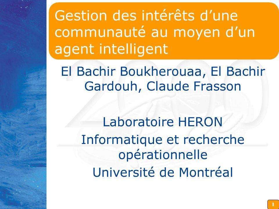 1 Gestion des intérêts d'une communauté au moyen d'un agent intelligent El Bachir Boukherouaa, El Bachir Gardouh, Claude Frasson Laboratoire HERON Informatique et recherche opérationnelle Université de Montréal