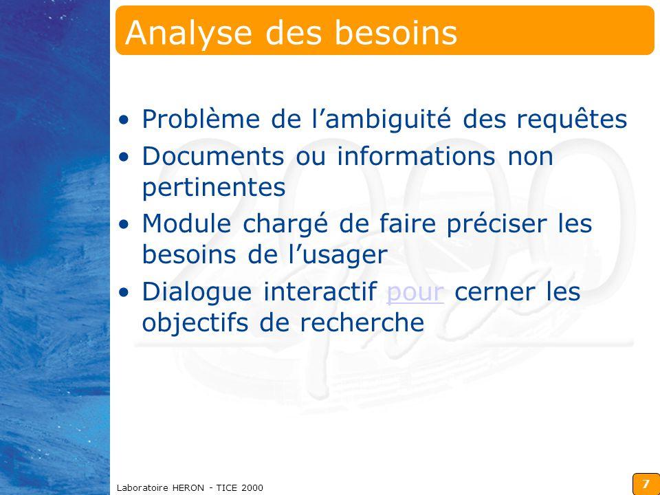 7 Analyse des besoins Problème de l'ambiguité des requêtes Documents ou informations non pertinentes Module chargé de faire préciser les besoins de l'usager Dialogue interactif pour cerner les objectifs de recherchepour