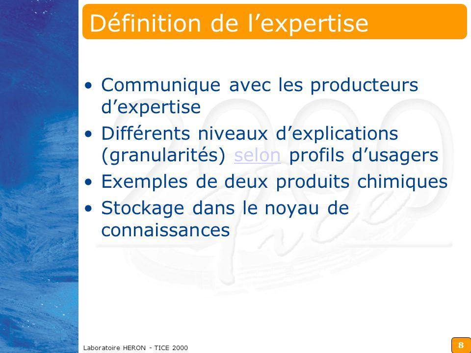 8 Laboratoire HERON - TICE 2000 Définition de l'expertise Communique avec les producteurs d'expertise Différents niveaux d'explications (granularités) selon profils d'usagersselon Exemples de deux produits chimiques Stockage dans le noyau de connaissances