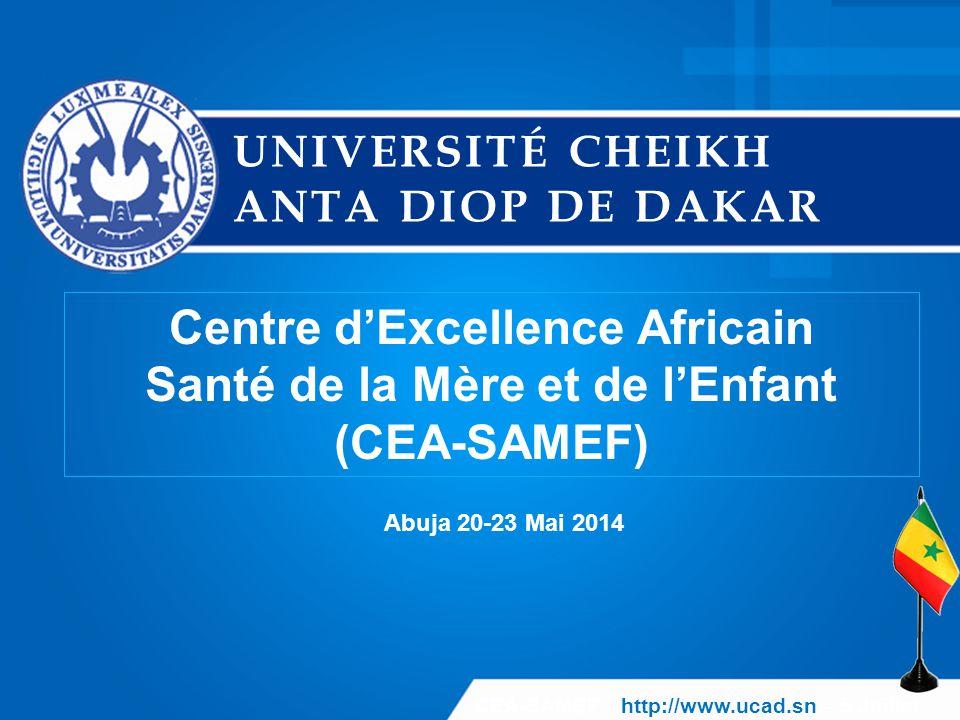 CEA-SAMEF Mai 2014  Former des ressources humaines compétentes capables de soutenir le développement du Sénégal et des pays de la région dans le domaine de la protection de la santé de la mère et de l'enfant ;  Renforcer les capacités de recherche et d'expertise des structures de recherche membres du Centre afin de mener efficacement des activités de recherches appliquées et de diagnostic dans le domaine de la santé de la mère et de l'enfant 12