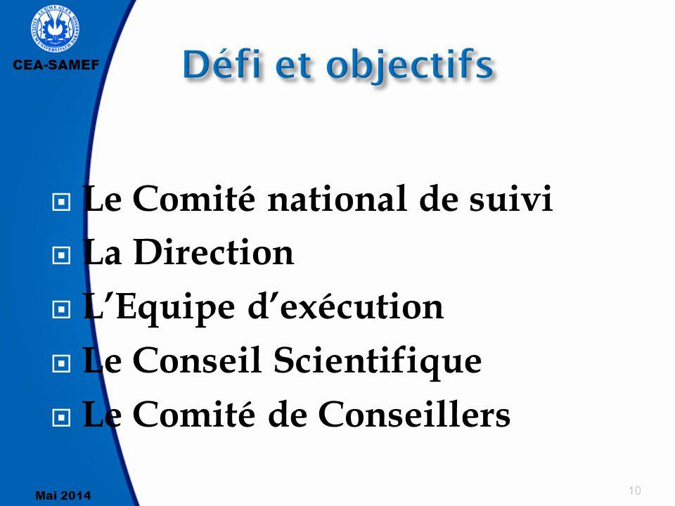 CEA-SAMEF Mai 2014  Le Comité national de suivi  La Direction  L'Equipe d'exécution  Le Conseil Scientifique  Le Comité de Conseillers 10