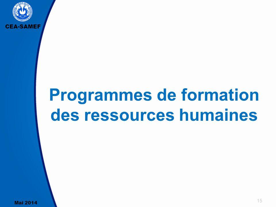 CEA-SAMEF Mai 2014 15 Programmes de formation des ressources humaines