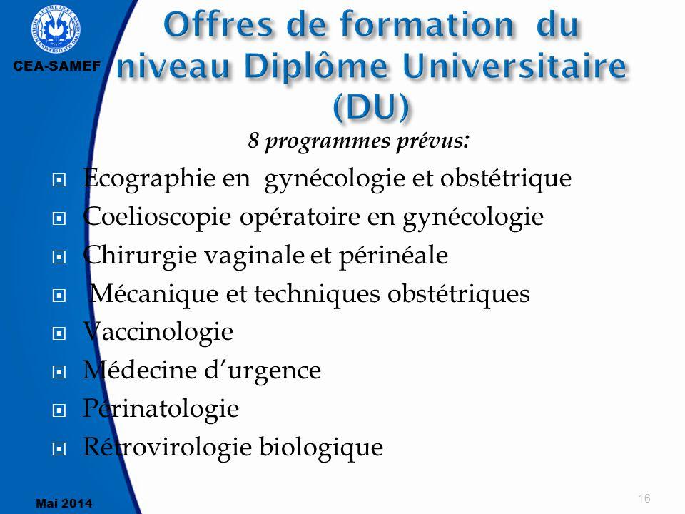 CEA-SAMEF Mai 2014 8 programmes prévus :  Ecographie en gynécologie et obstétrique  Coelioscopie opératoire en gynécologie  Chirurgie vaginale et p