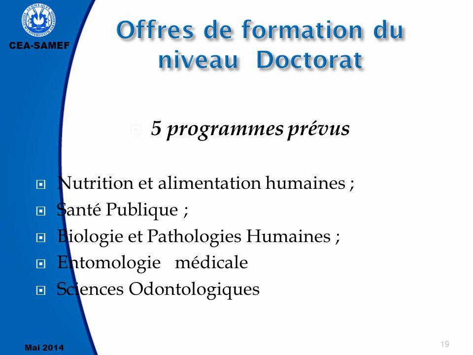 CEA-SAMEF Mai 2014  5 programmes prévus  Nutrition et alimentation humaines ;  Santé Publique ;  Biologie et Pathologies Humaines ;  Entomologie