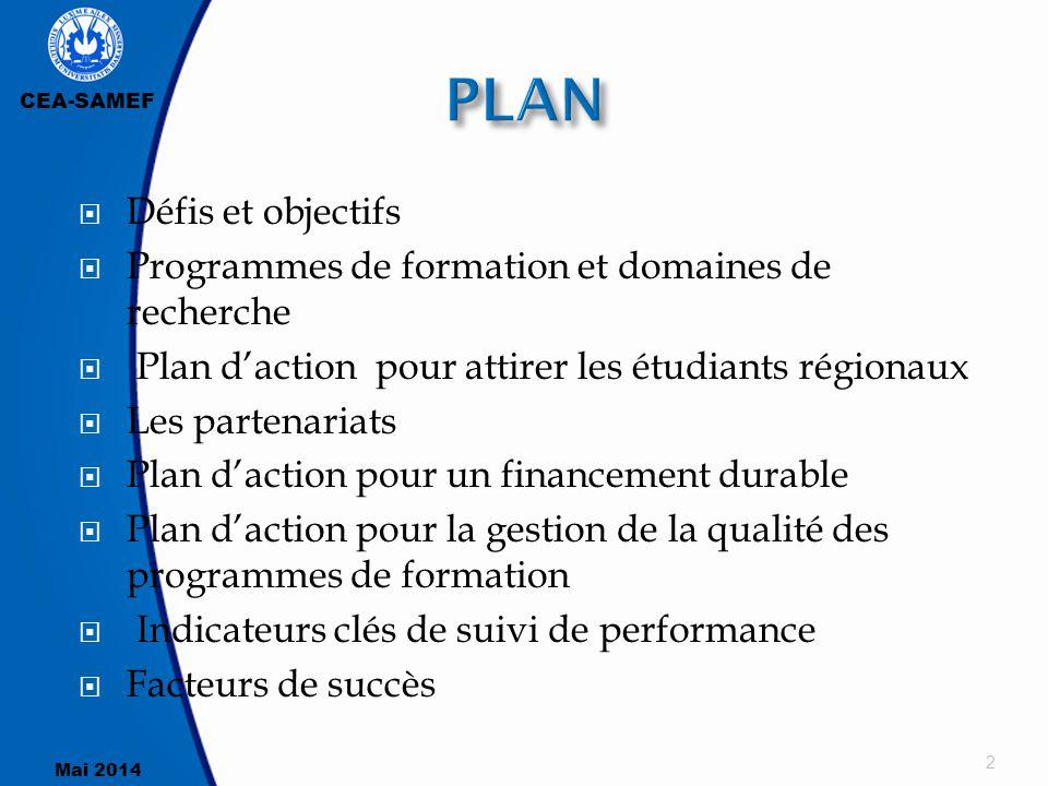 CEA-SAMEF Mai 2014  Défis et objectifs  Programmes de formation et domaines de recherche  Plan d'action pour attirer les étudiants régionaux  Les
