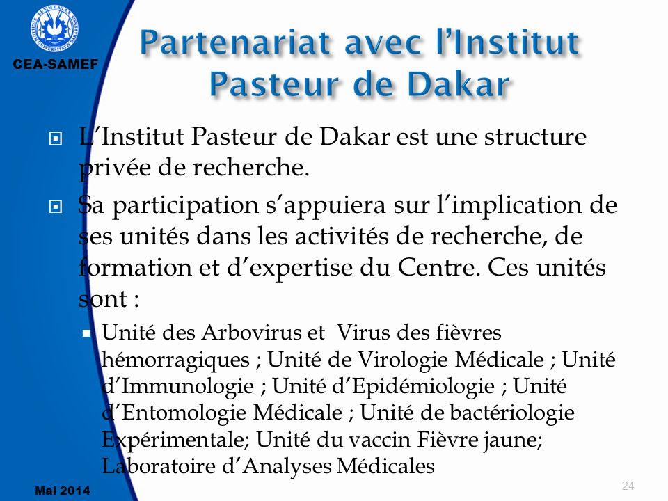 CEA-SAMEF Mai 2014  L'Institut Pasteur de Dakar est une structure privée de recherche.  Sa participation s'appuiera sur l'implication de ses unités