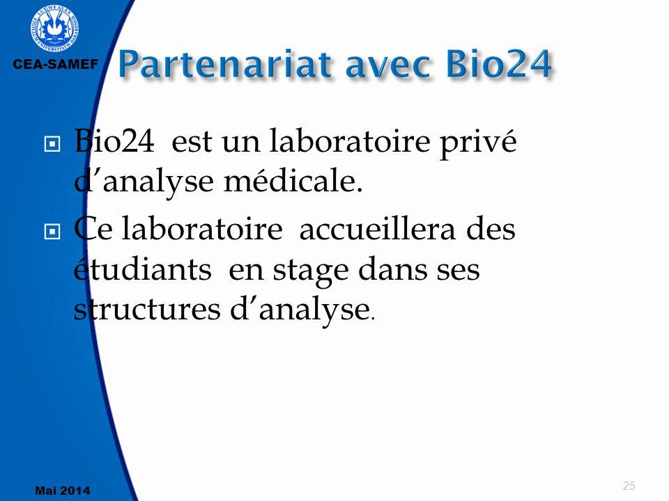 CEA-SAMEF Mai 2014  Bio24 est un laboratoire privé d'analyse médicale.  Ce laboratoire accueillera des étudiants en stage dans ses structures d'anal