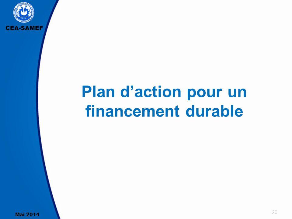 CEA-SAMEF Mai 2014 26 Plan d'action pour un financement durable