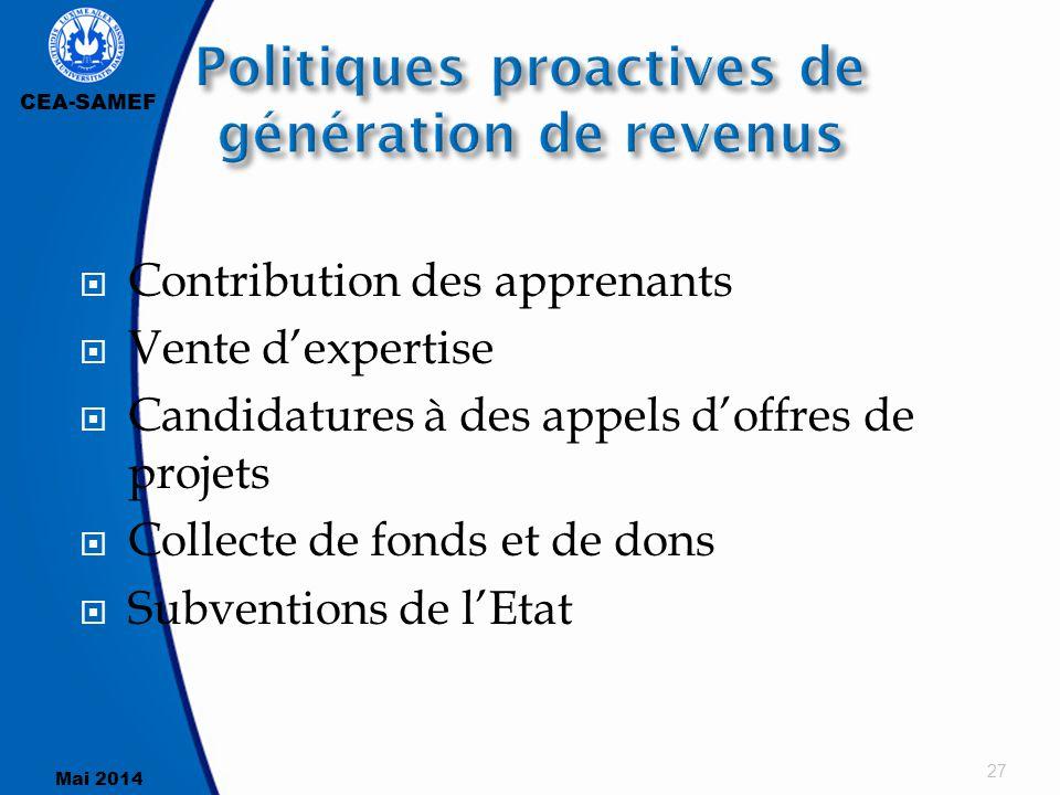 CEA-SAMEF Mai 2014  Contribution des apprenants  Vente d'expertise  Candidatures à des appels d'offres de projets  Collecte de fonds et de dons 