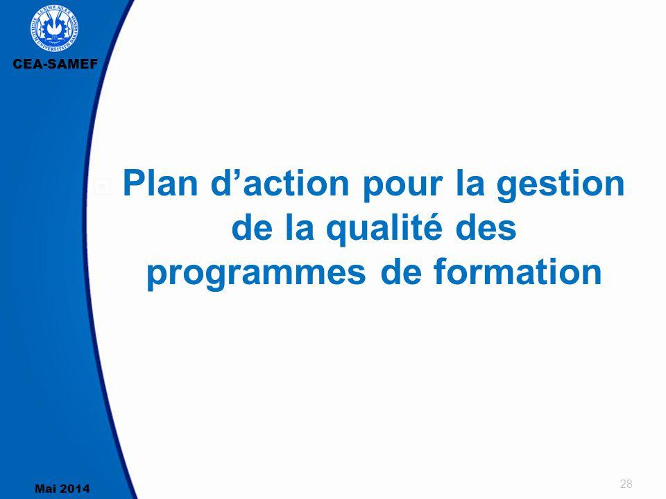 CEA-SAMEF Mai 2014 28  Plan d'action pour la gestion de la qualité des programmes de formation