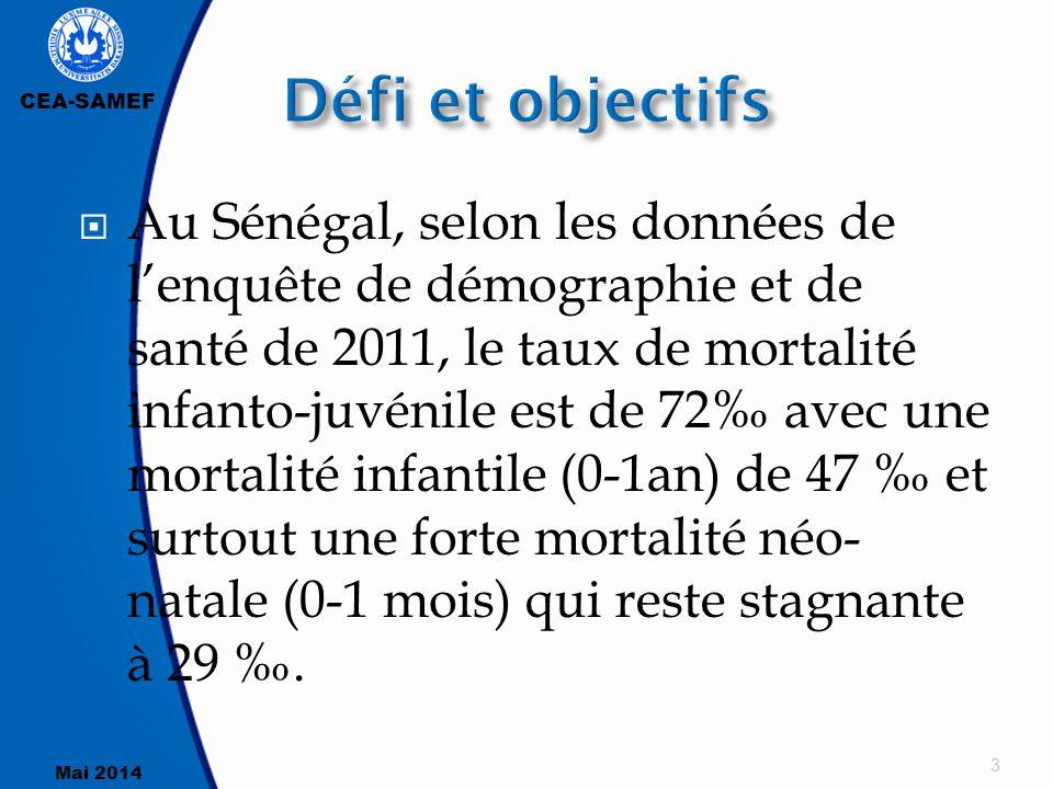 CEA-SAMEF Mai 2014  Au Sénégal, selon les données de l'enquête de démographie et de santé de 2011, le taux de mortalité infanto-juvénile est de 72‰ a
