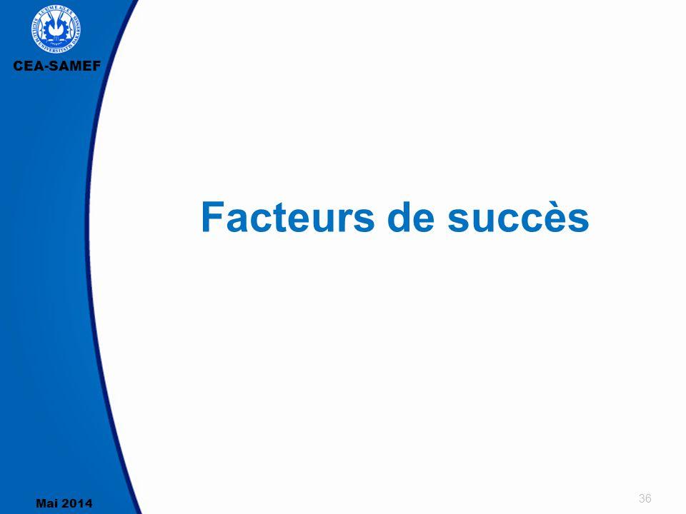 CEA-SAMEF Mai 2014 36 Facteurs de succès