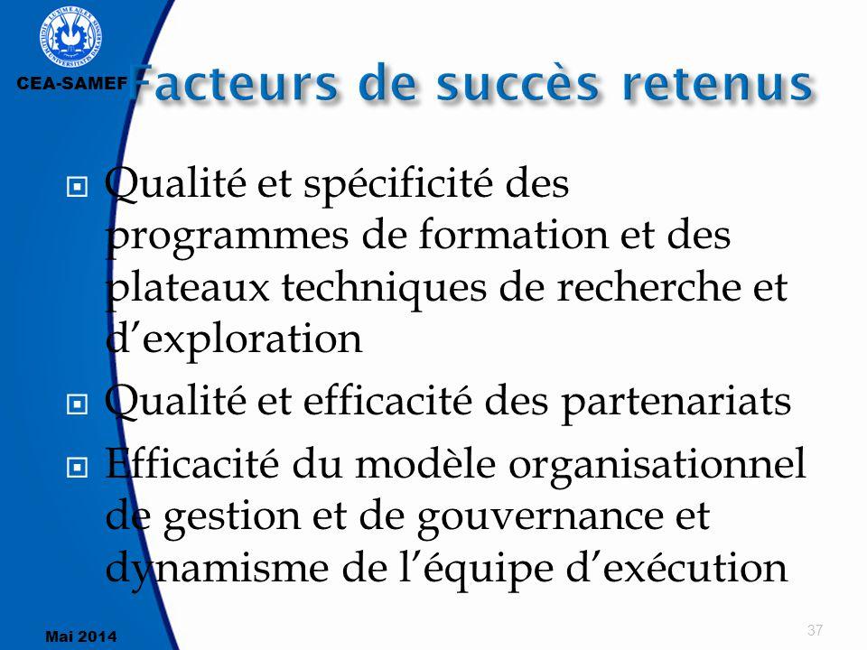 CEA-SAMEF Mai 2014  Qualité et spécificité des programmes de formation et des plateaux techniques de recherche et d'exploration  Qualité et efficaci
