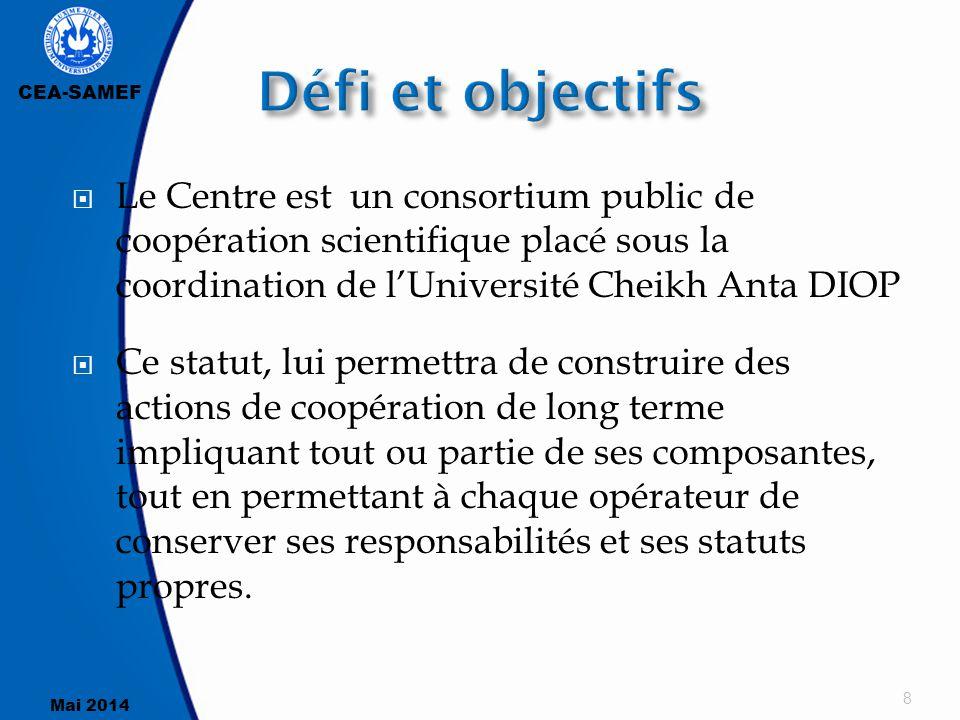 CEA-SAMEF Mai 2014  Le Centre est un consortium public de coopération scientifique placé sous la coordination de l'Université Cheikh Anta DIOP  Ce s