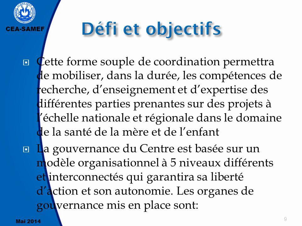 CEA-SAMEF Mai 2014  L'autonomie du Centre, sa liberté d'action, l'efficacité et l'efficience des ses activités de formation, de recherche, d'expertise et de gestion administrative et financière dépendent largement de l'efficacité du modèle de gestion et gouvernance et du dynamisme de l'équipe d'exécution 40