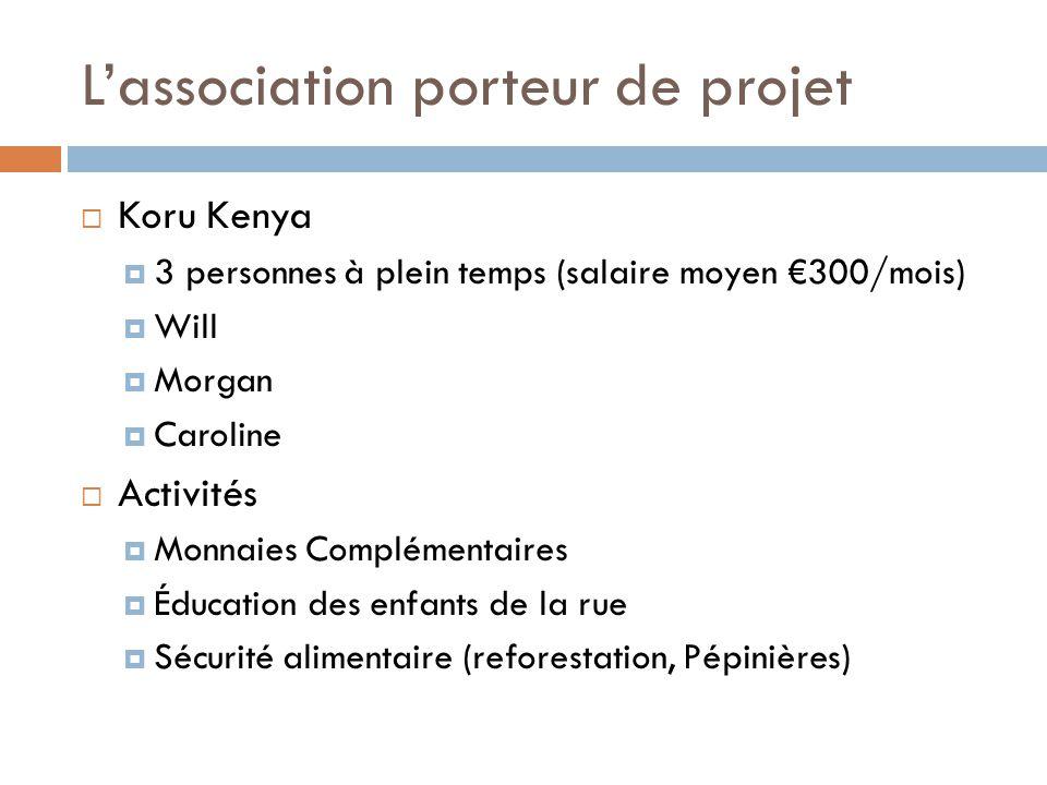 L'association porteur de projet  Koru Kenya  3 personnes à plein temps (salaire moyen €300/mois)  Will  Morgan  Caroline  Activités  Monnaies C