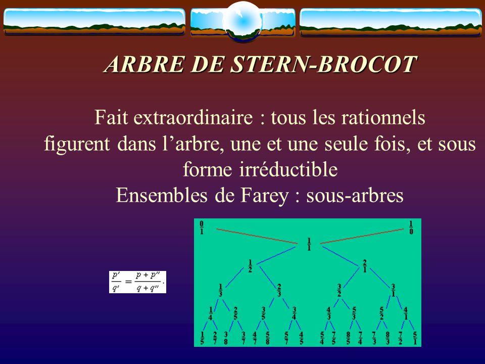 ARBRE DE STERN-BROCOT ARBRE DE STERN-BROCOT ARBRE DE STERN-BROCOT Fait extraordinaire : tous les rationnels figurent dans l'arbre, une et une seule fo