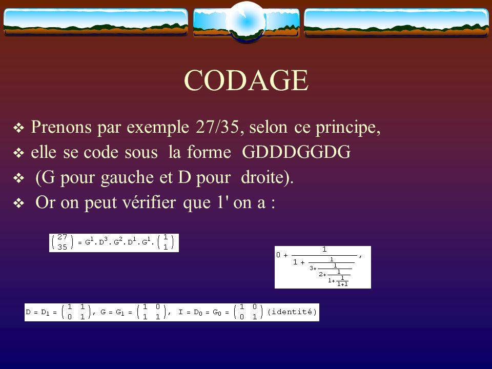 CODAGE  Prenons par exemple 27/35, selon ce principe,  elle se code sous la forme GDDDGGDG  (G pour gauche et D pour droite).  Or on peut vérifier