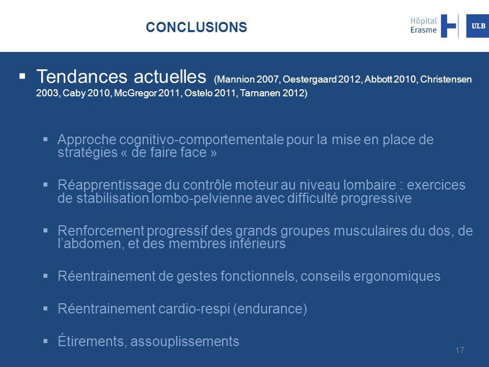 CONCLUSIONS  Tendances actuelles (Mannion 2007, Oestergaard 2012, Abbott 2010, Christensen 2003, Caby 2010, McGregor 2011, Ostelo 2011, Tarnanen 2012