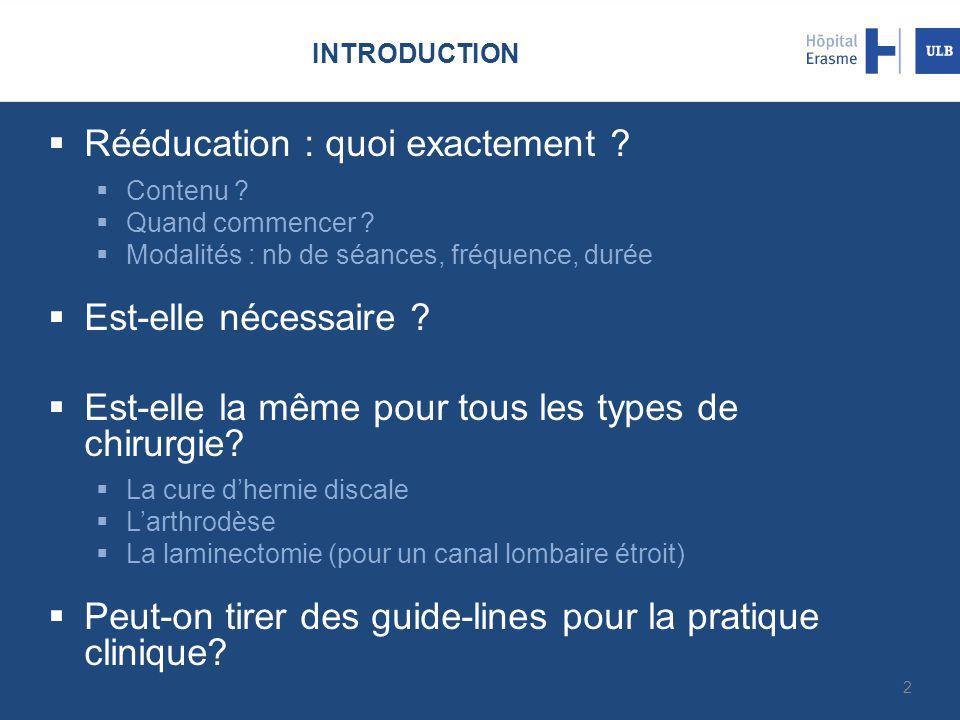 INTRODUCTION  Rééducation : quoi exactement ?  Contenu ?  Quand commencer ?  Modalités : nb de séances, fréquence, durée  Est-elle nécessaire ? 