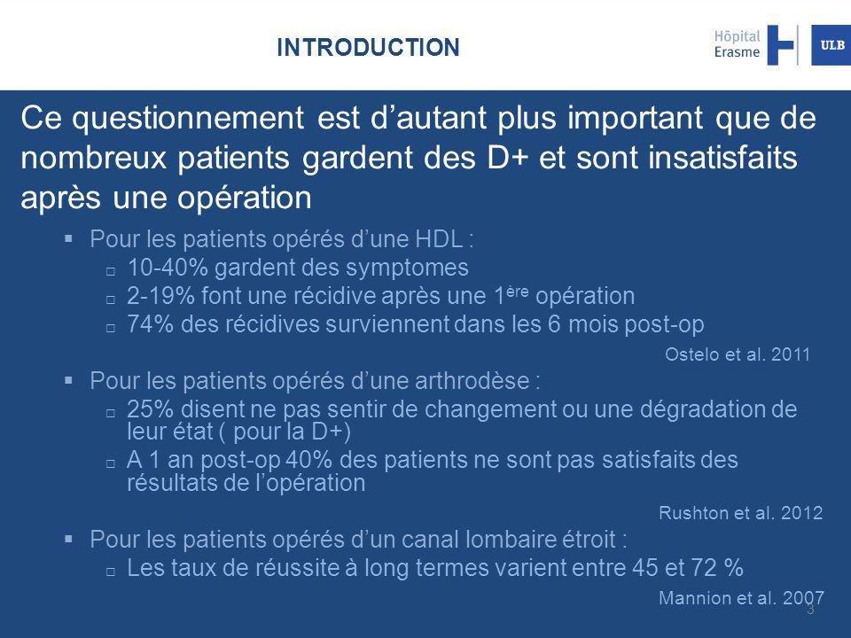 INTRODUCTION Ce questionnement est d'autant plus important que de nombreux patients gardent des D+ et sont insatisfaits après une opération  Pour les